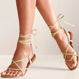 Collin Stuart Silver Gray Gladiator Rope Sandals 6